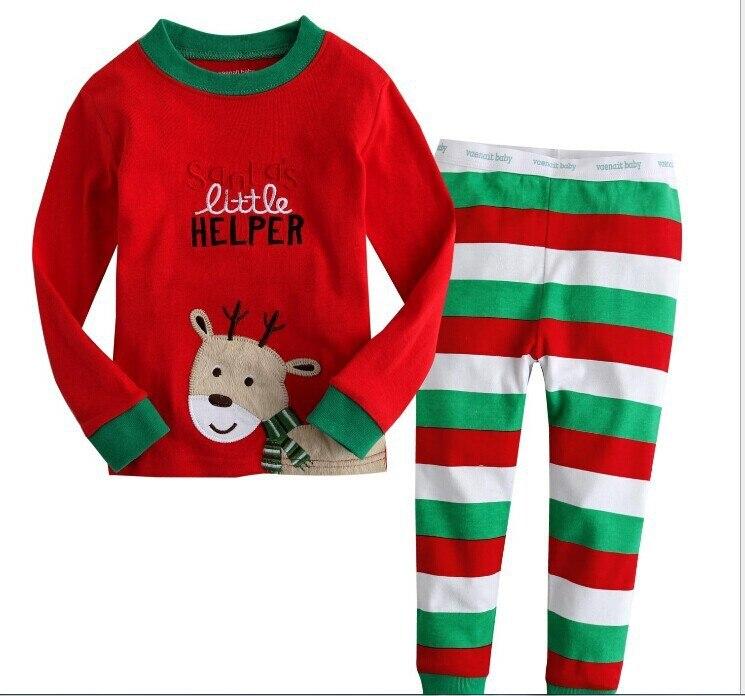 2PCS Toddler Xmas Kids Boy Long Sleeve Cartoon Long Sleeve Tops Pants Pajama Set