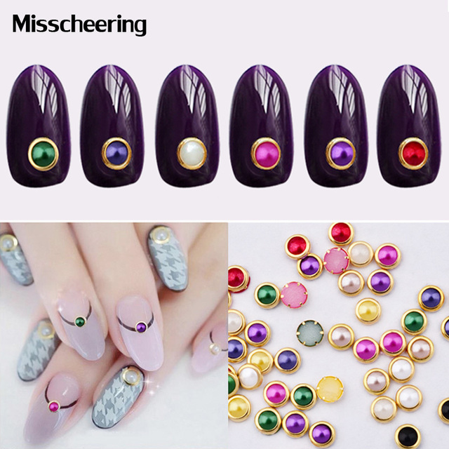 Pcs Pack Colorful Manicure Pearls Nair Art Decoration New Mental Edge For Nail Beauty Diy
