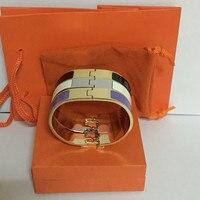 Fine 12mm 18mm H Bracelet Bangle Women 316L Titanium Steel Love Bracelet Wristband Enamel Bangle With