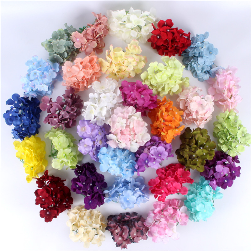 99pcs lot luxury artificial Hydrangea silk flower Amazing colorful decorative flower for wedding party Birthday home