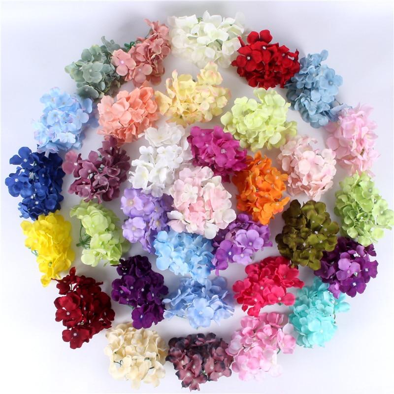 Ev ve Bahçe'ten Yapay ve Kurutulmuş Çiçekler'de 99 adet/grup lüks yapay Ortanca ipek çiçek İnanılmaz renkli dekoratif çiçek düğün parti Doğum Günü ev dekorasy'da  Grup 1