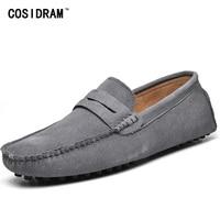 Cosidram слипоны Для мужчин повседневная обувь корова замши обувь для вождения мужские лоферы мужские мокасины плюс Размеры 45, 46, 47 48 49 rme-354