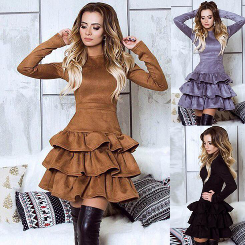 SORCHIDF Women's Ruffles Dress 2017 Autumn Winter Long Sleeve Cake Dresses Casual Mini Dress Ruffled Dress Vestidos Clothing 4