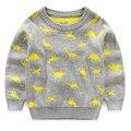 Moda 2017 Outono Crianças Camisola Do Bebê tricô animais impressos pulôveres Camisolas crianças roupas das meninas dos meninos