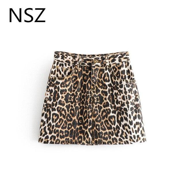 c3209e7ed8 Women Animal Print Leopard Denim Skirt Sexy Mini Jeans Skirt A-Line High  Waist Zipper Pocket Casual Spring Autumn Faldas damas