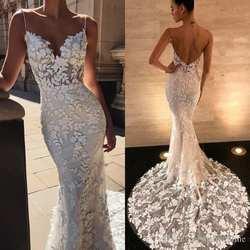 2019 вышивка кружево Русалка Свадебные платья спагетти бретели для нижнего белья бисером спинки Свадебные платья без рукавов плюс размеры