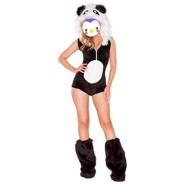 Оптовая хэллоуин животных костюм черно-белые сексуальные женщины панда костюмы, панда костюм талисмана, танцы костюмы животных