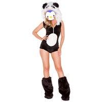 Wholesale halloween animal costume black and white sexy women panda costumes,panda mascot costume, dancing party animal costumes