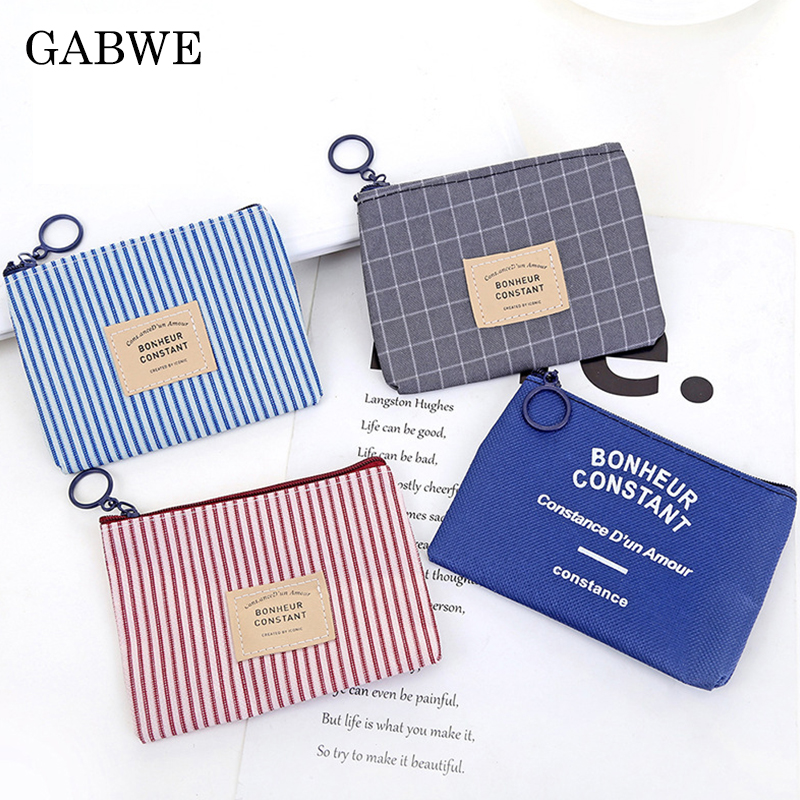 GABWE Canvas Purse Card Key Zipper Coin Purse Girl Money Bag Change Pouch Female Coin Key Holder Fashion Kids Purse Mini Wallets