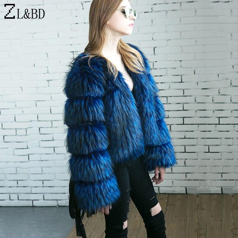 ZL&BD Fluffy Faux Fox Fur Coat 2018 Winter Women Warm Vinatge Warm Hairy Plus Size Fake Fur Jacket Female Party Overcoat ZA766