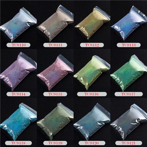 TCT-070 голографическая цветная устойчивая к растворению блестящая пудра для дизайна ногтей Гель-лак для ногтей тени для макияжа - Цвет: 12 Colors 10g each