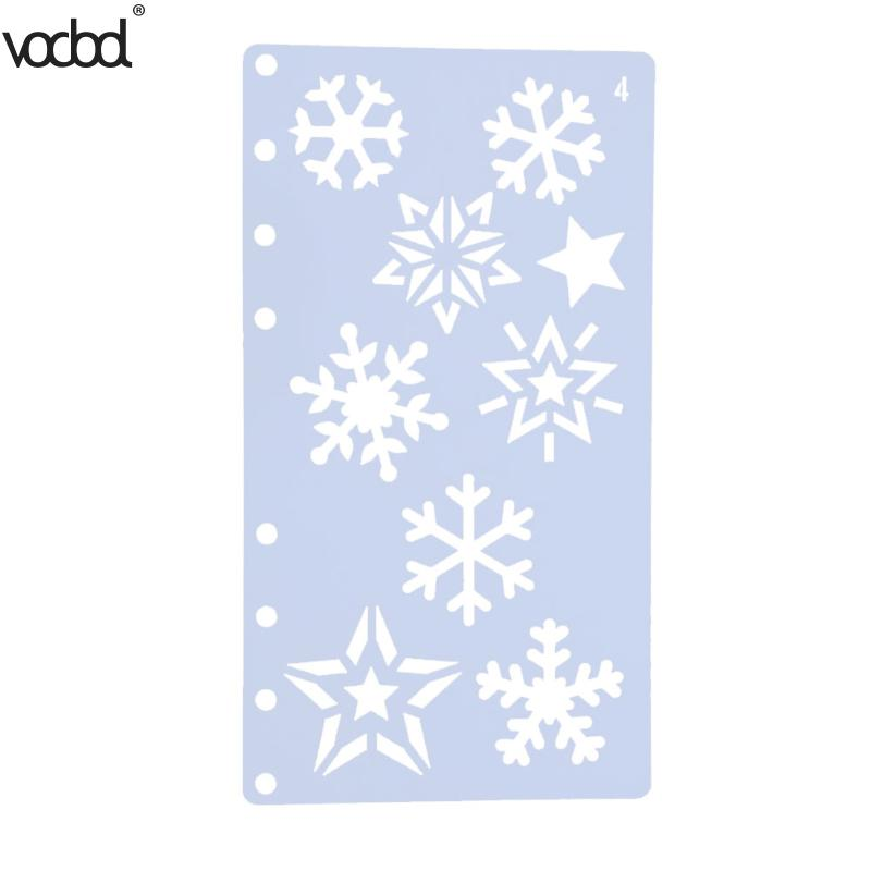 Snowflake Theme Hollow Ruler Fashionable A6 Page Template Stamp DIY Photo Album Draw Tool School Stationery Paper Cards Crafts