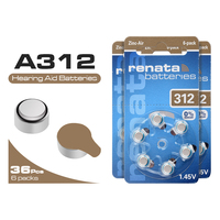 High quality Cell battery 36Pcs ZA312 312A P312 Battery 1.45V For Hearing Aid Zinc Air Button Batteries