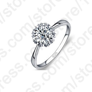 JEXXI Real 925 Sterling Silver Ring CZ Classic Engagement Rings 4 Size AAA for Women Jewelry