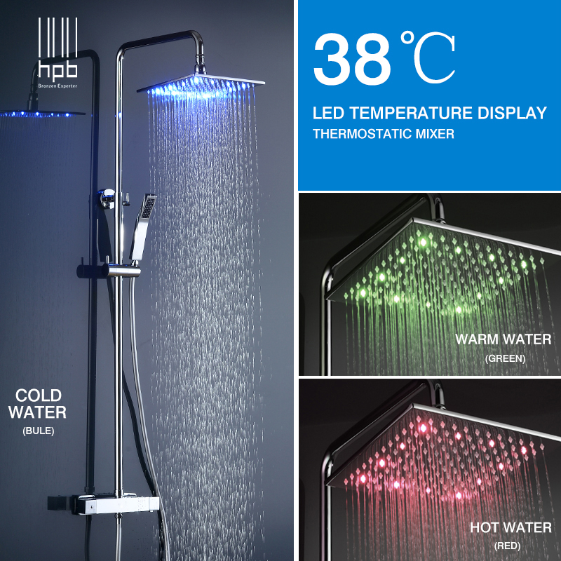 HPB Brass Chrome Bathroom LED Thermostatic Shower Faucet Set With 10 inch Square Shower Head Bath Shower Mixer Tap HP8802