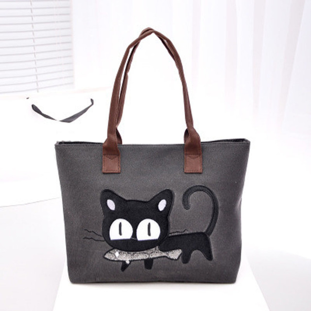 2017 New Fashion Women Canvas Bag Cute Cat Shoulder Office Lunch 4 Colors Bolso