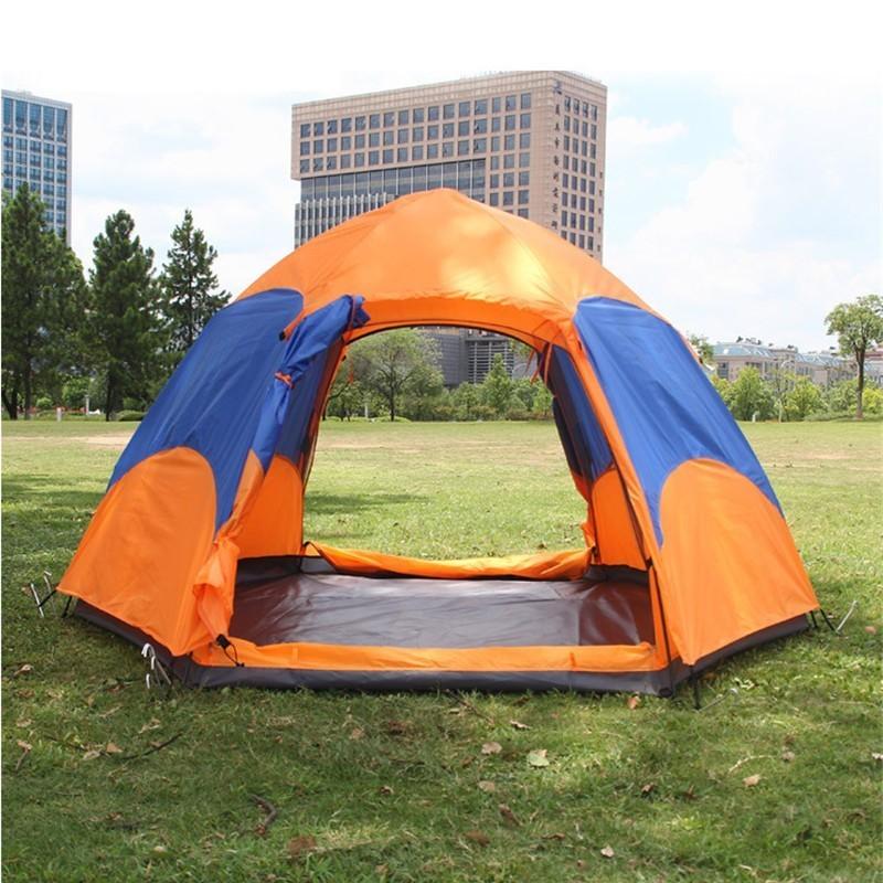 Tente de Camping automatique hexagonale imperméable à l'eau de Double couche de tente mongole ouverte rapide de 3-5-7 personnes pour la randonnée en plein air