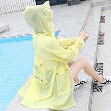 Вышитая Солнцезащитная Одежда Женская длинная секция ультра-тонкая дышащая большой размер анти-УФ Солнцезащитная одежда