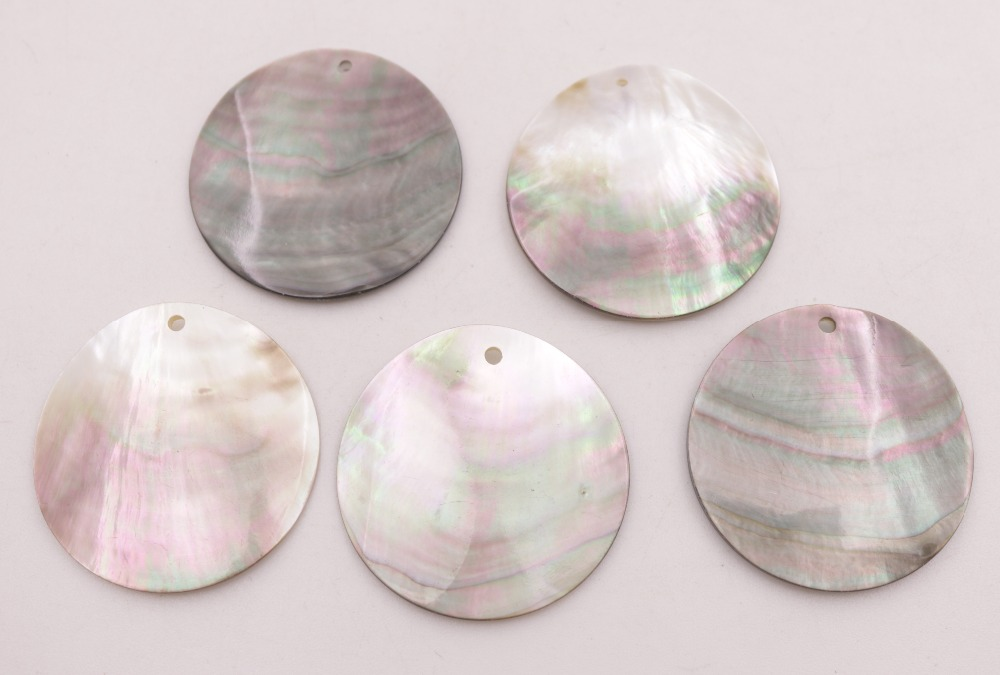 10 PCS Natural black gray 30mm Round Coin Shell For Pendant Earring Making