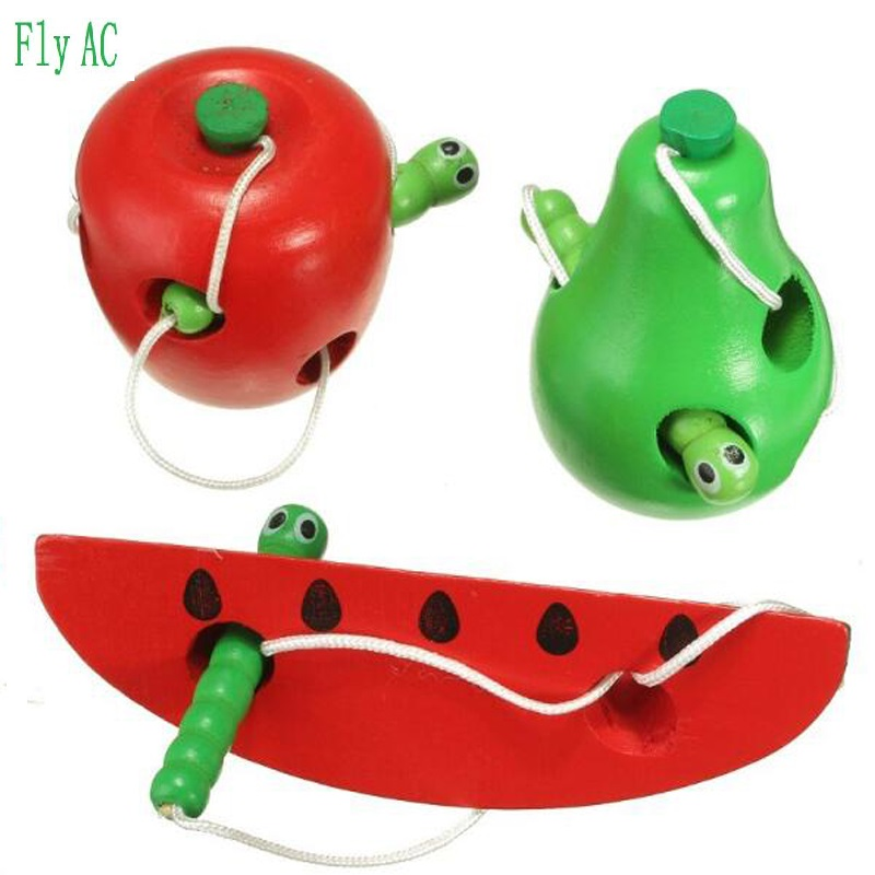 Fly AC Montessori Educational Toys Fun Wooden toy Worm Eat Fruit Apple pear Early Learning Teaching Aid Baby Toy Gift
