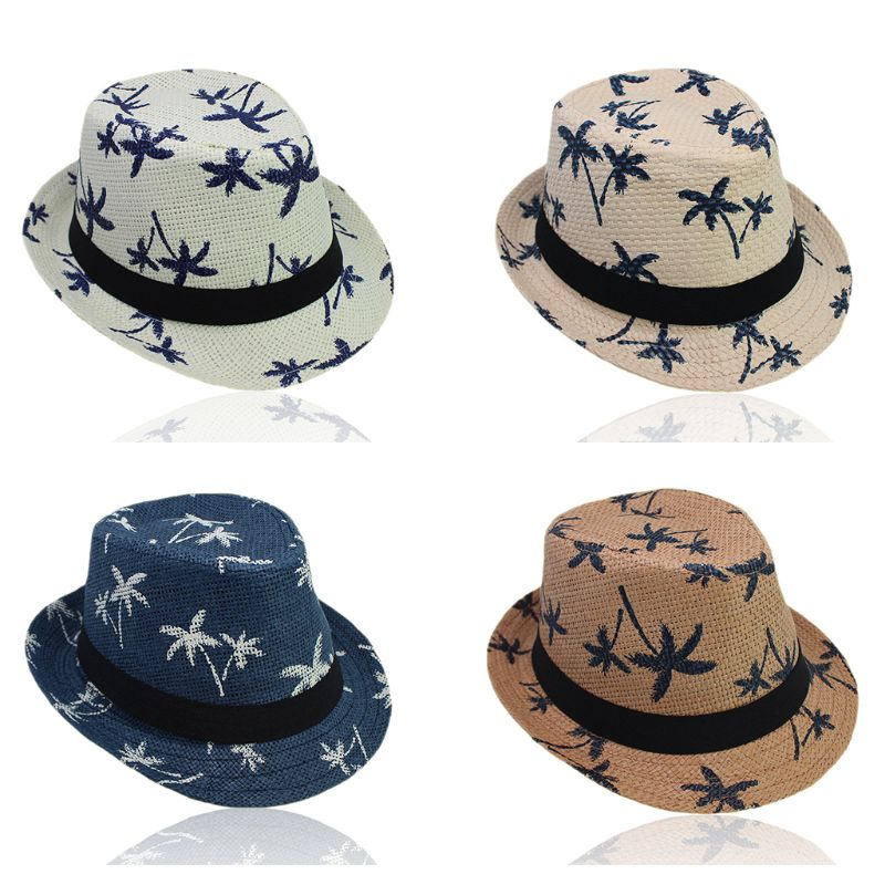 Straw Weave Sun Hat Parent-Child Tropical Coconut Tree Printed Short Curly Brim Retro Jazz Bucket Cap Wide Ribbon Beachwear