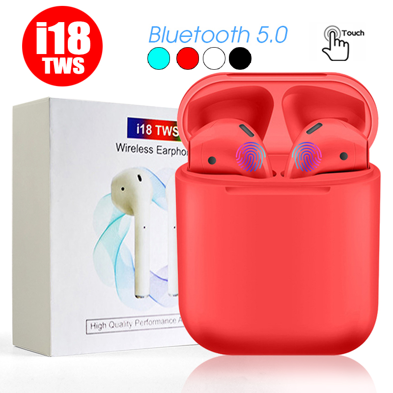 2019 Original <font><b>i18</b></font> <font><b>TWS</b></font> Bluetooth 5.0 <font><b>Earphones</b></font> for iphone Xiaomi Huawei Earbuds Wireless Headsets 3D Sound Touch Control image