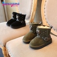 0 6T New Winter Newborn Fashion Leopard Rivet Fur Boots Baby Girls Boys Shoes Toddler Genuine