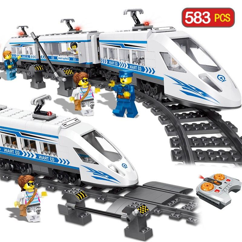 Blocs de construction de série de chemin de fer de ville technique RC compatible LegoINGLYS gare de contrôle à distance blocs de Train jouets pour enfants