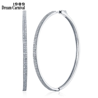 DreamCarnival 1989 2 row Thin Stones Zircon Big Circle Round Hoops Sterling Silver 925 Jewelry Timeless Wedding Earring SE14743R