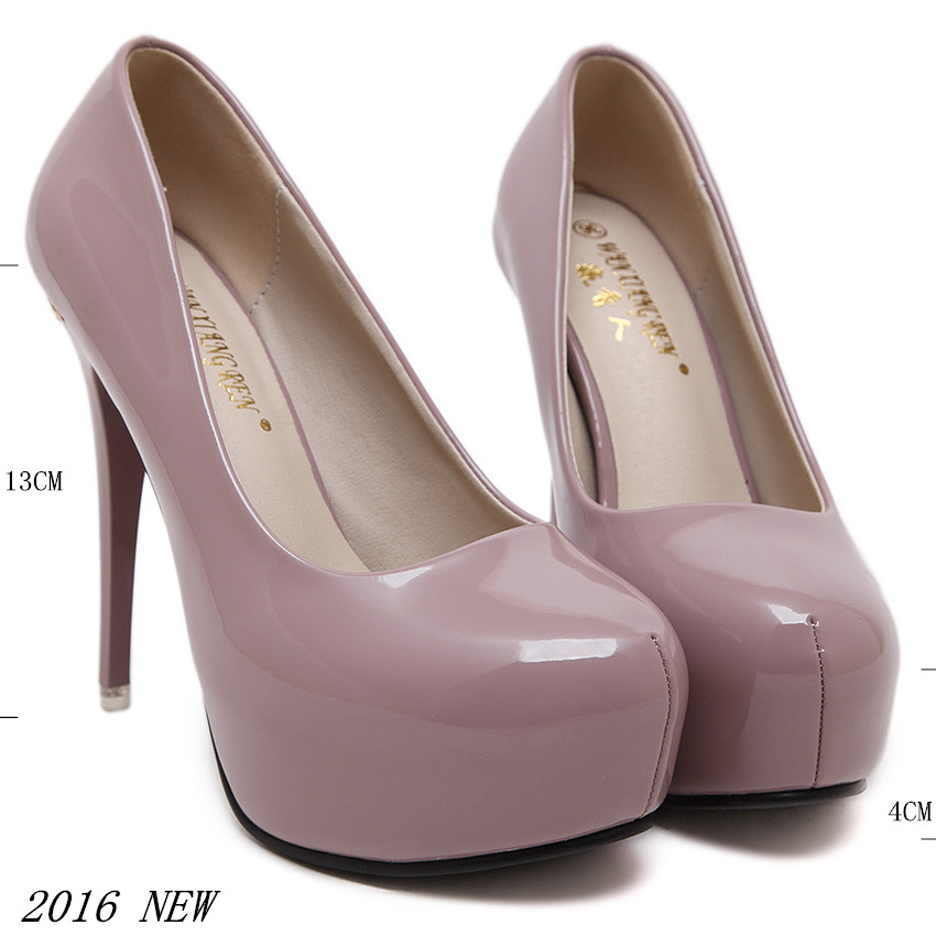 Fashion Platform Pumps Sexy High-Heeled Shoes Thin Heels 2016 Round Toe High heels Women's Wedding Shoes Stiletto