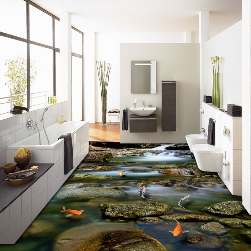 Free Shipping Mountain streams water nine fish Figure 3D floor painting thickened living room lobby bathroom flooring mural streams of stream classifications