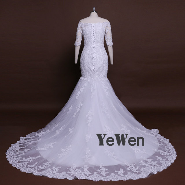 Ghana 80cm Trailing High Quality Lace Mermaid White Ivory Wedding Dresses 2018 Diamond Off The Shoulder Bridal Gown Plus Size