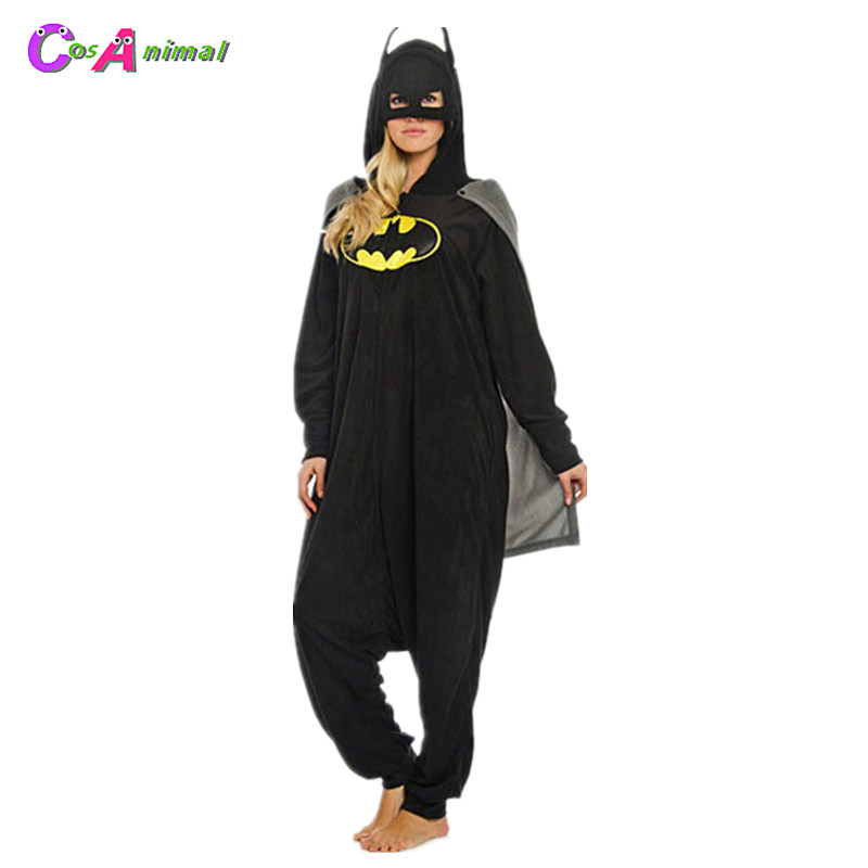 Super Hero Batman Adult's Polar Fleece Kigurumi Women and Men Cartoon Onesies Pajama For Halloween Carnival Masquerade Party