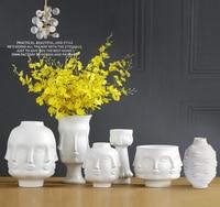 Geometric face white ceramic vase decorative modern creative flower vase home decoration