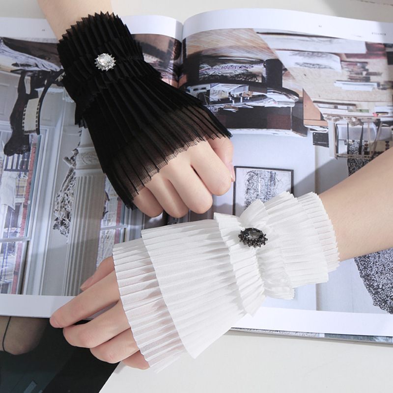 New Fashion Joker Organ Court Wind Light Mysterious Floral Arm Warmers Universal Wild Layer Fake Cuff Sleeves Chiffon Sleeves