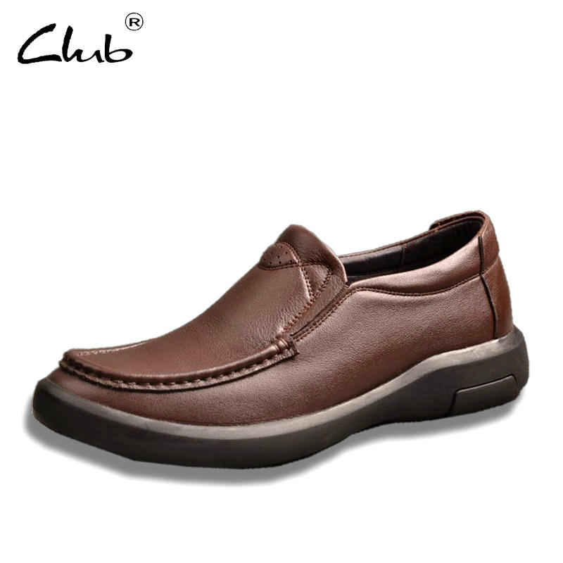 Club Men's Genuine Leather Loafers Shoes High Quality Breathable Slip-on Handmade Oxfords Shoes Men Casual Moccasins Footwear купить