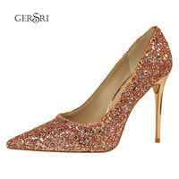 Gersri Sexy Bling Pumps Shoes Ladies Wedding High Heels 9.5cm Sequins Party Banquet Ladies High Heels Crystal Shoes Silver