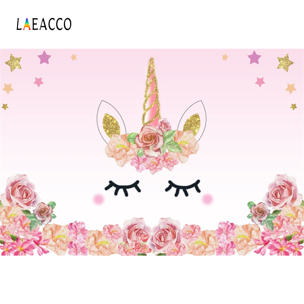 Laeacco Cartoon Unicorn Flower Birthday Baby Newborn Photography Backgrounds Customized Photographic Backdrops For Photo Studio