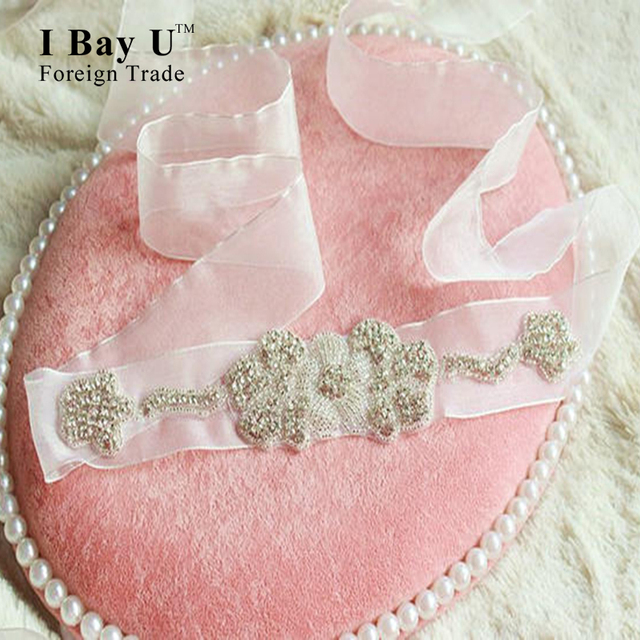 I Bay U Sheer Silk Beaded Sash Belt For Wedding Dress Accessories Sash Rhinestone Bridal Belt Diamond Wedding Belts And Sashes
