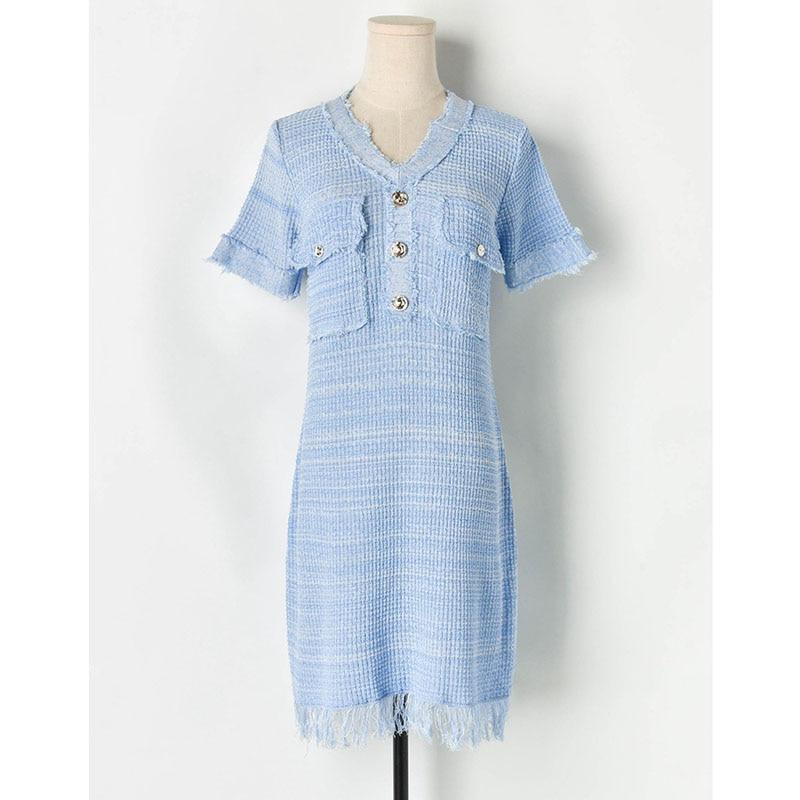2019 Runway Designer Summer Loose Dress Women Elegant Knitted Pockets Tassel V neck Lady Dresses High