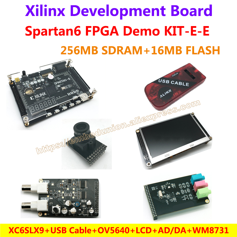 Carte de démonstration FPGA Xilinx Spartan6 XC6SLX9 (256 M SDRAM) + caméra + câble USB + 4.3 pouces LCD + module AD/DA + Module Audio WM8731 = KIT-E-E