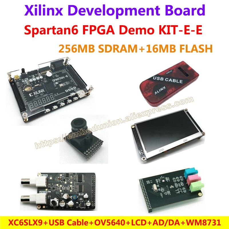 FPGA Demo Board Xilinx Spartan6 XC6SLX9(256M SDRAM)+Camera+USB Cable+4.3 inch LCD+AD/DA module+WM8731 Audio Module=KIT-E-E