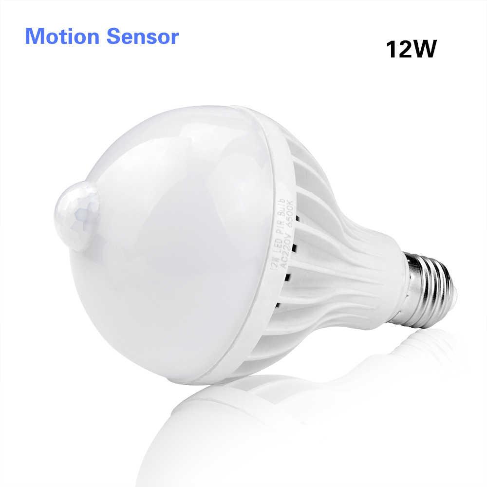 3 Вт, 5 Вт, 7 Вт, 9 Вт, 12 Вт, E27, 220 В светодиодный светильник, умный звук/PIR датчик движения, светодиодный светильник, Индукционная лампа для лестницы, коридора, Ночной светильник, белый цвет