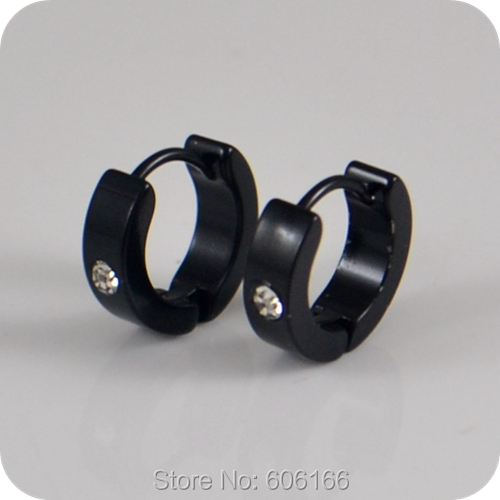 12 Pairs Rhinestone Black Plated Stainless Steel Stud Earrings Man Women Fashion Jewelry Wholesale