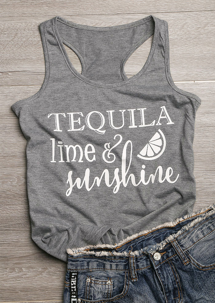 2018 Women Casual O-Neck   Tank     Tops   Tequila Lime & Sunshine Letter Print   Tank   2018 Female Fashion Vest Gray Ladies   Tops   Tee