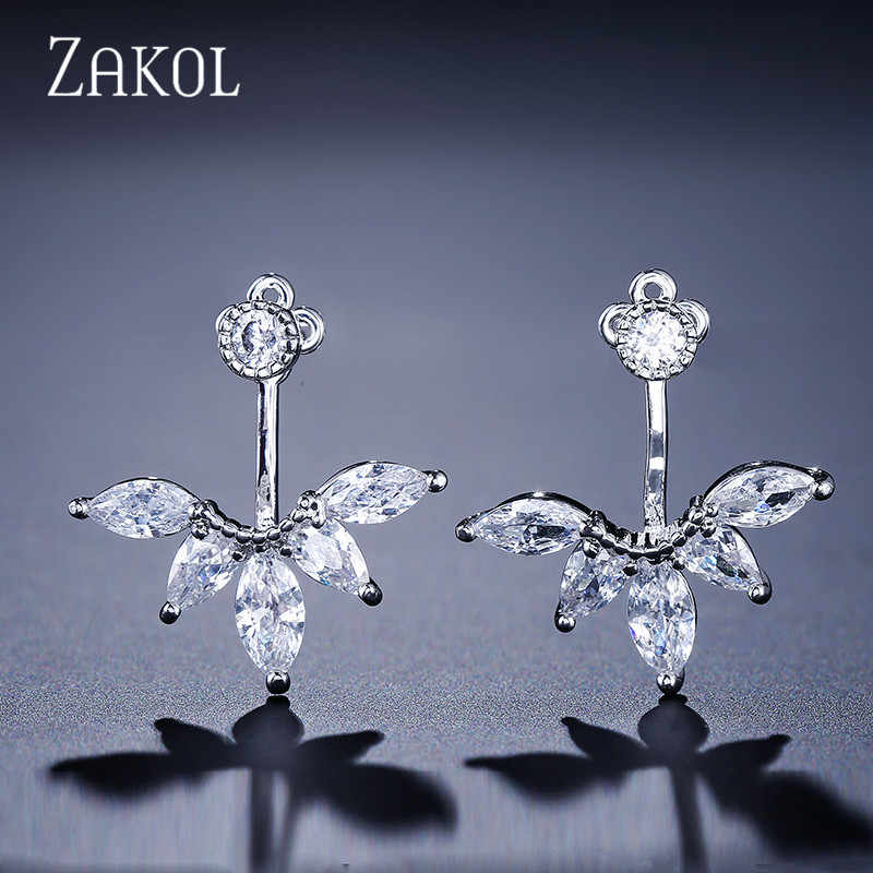 ZAKOL Fashion Zirconia Women Jewelry Exquisite White Color CZ Zircon Leaf Earrings Jackets For Party Wholesale Price FSEP489