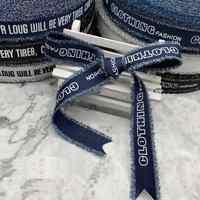 Denim Ribbon Garment Bow accessories 25mm Black Blue White stripes Ribbon DIY Clothing accessories handmade sewing accessories