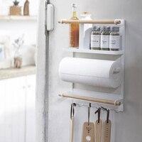 Nordic Metal Iron Storage Shelf Magnet adsorption refrigerator Condiment bottles Sundries Storage Holders Organizer for Home