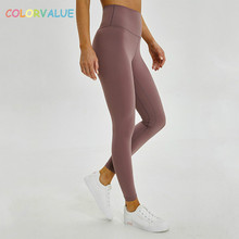 купить Colorvalue Anti-sweat Mention Hip Sport Gym Leggings Women High Waisted Yoga Fitness Pants Seamless Dance Workout Leggings XS-XL дешево