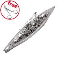 ICONX Piececool 3D Puzzle Toy DIY 3D Metal Puzzles Model Bismarck Battleship Models Military Ship Kids